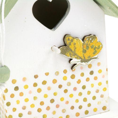 Deko Vogelhaus zum Hängen Grün-Weiß 12cm