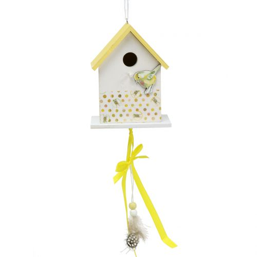 Deko Vogelhaus zum Hängen Gelb-Weiß 12cm