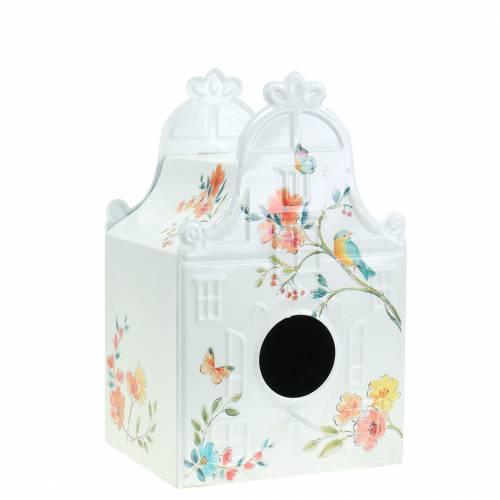 Deko Vogelhaus mit Blumen Metall Weiß 25,5c×16×13,5cm