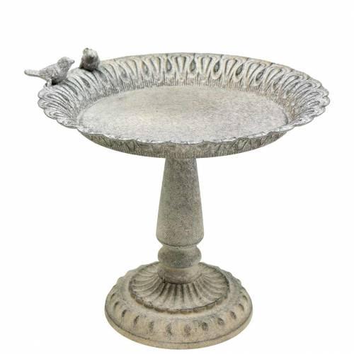 Vogeltränke auf Sockel Metall Grau, Weiß Gewaschen Ø28,3cm H26,5cm