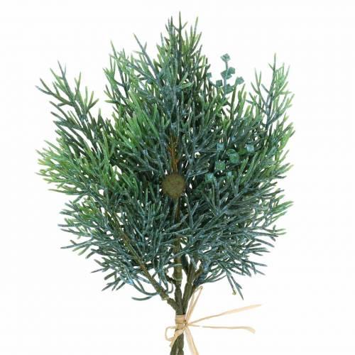 Dekozweig Wacholder mit Zapfen Grün, Blau gewaschen 25cm 2St