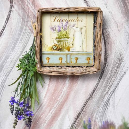 Weidenkorb mit Lavendelmotiv 20cm