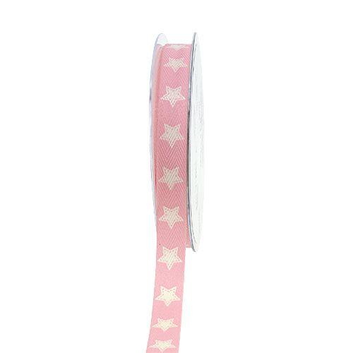Weihnachtsband Leinenoptik Sterne Rosa 15mm 20m