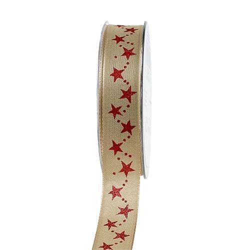 weihnachtsband natur mit roten sternen 25mm 20m preiswert online kaufen. Black Bedroom Furniture Sets. Home Design Ideas