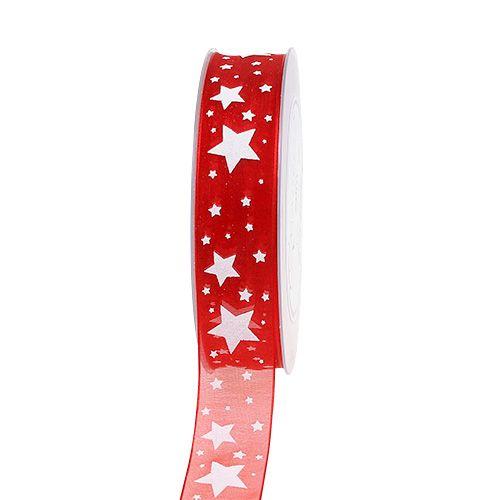 Weihnachtsband Rot Organza mit Sternen 25mm 20m