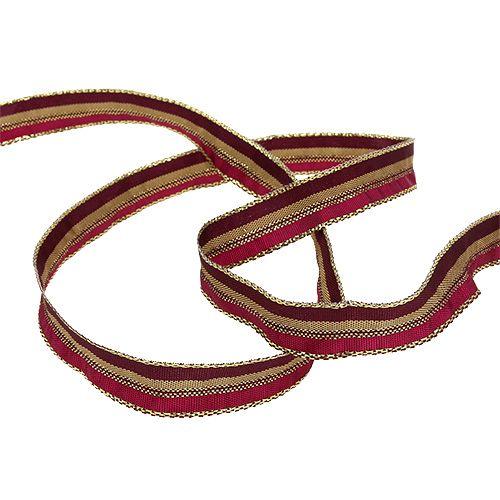 Weihnachtsband mit Streifen Erika, Gold 15mm 20m