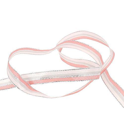 Weihnachtsband mit Streifen Rosa, Silber 15mm 20m