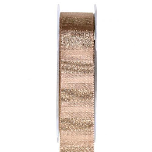 Weihnachtsband mit Goldfäden Braun 25mm 20m