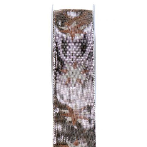 Weihnachtsband holografisch Braun, Silber 40mm 20m