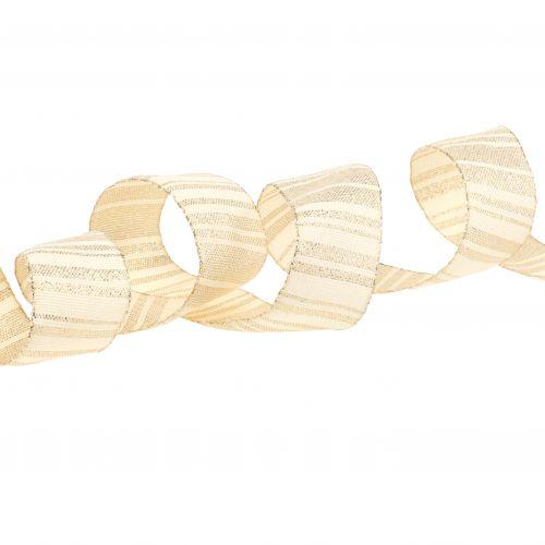 Weihnachtsband Creme mit Goldstreifen Muster 35mm 25m