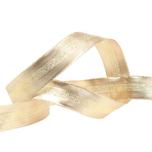Weihnachtsband Gold mit Draht 25mm 20m