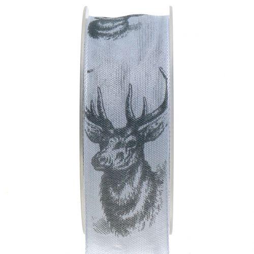 Weihnachtsband Grau mit Hirschmotiv 40mm 20m
