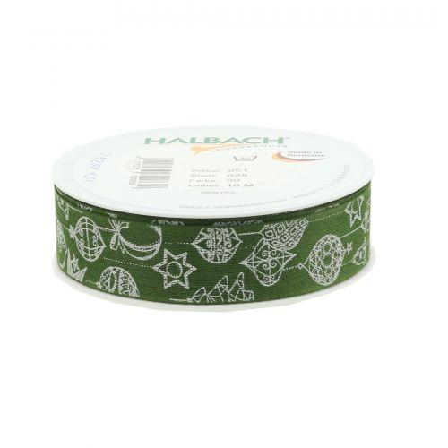 Deko Band Grün mit Weihnachtsmotiv 25mm 18m