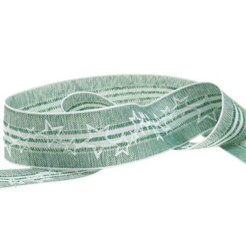 Weihnachtsband Grün mit Stern 35mm 15m