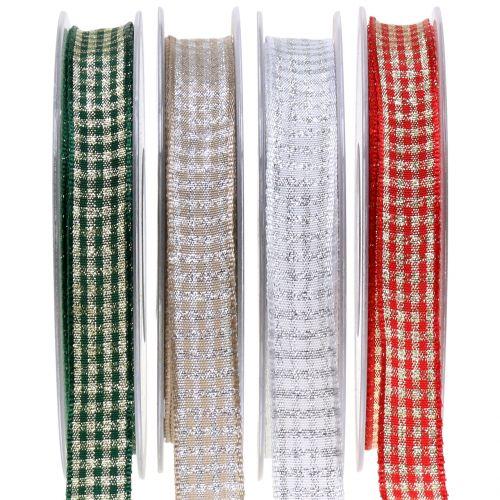 Weihnachtsband Karoband mit Glimmer 15mm 20m
