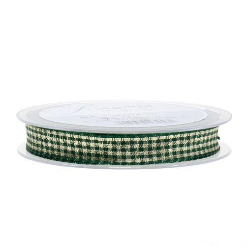 Weihnachtsband Karoband mit Glimmer Grün 15mm 20m