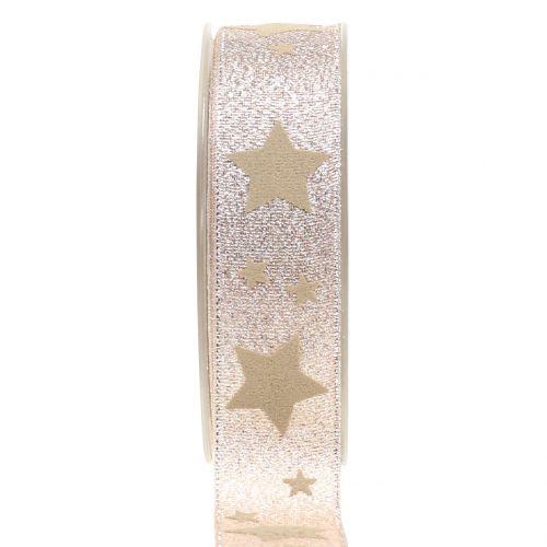 Weihnachtsband Kupfer mit Stern 25mm 20m