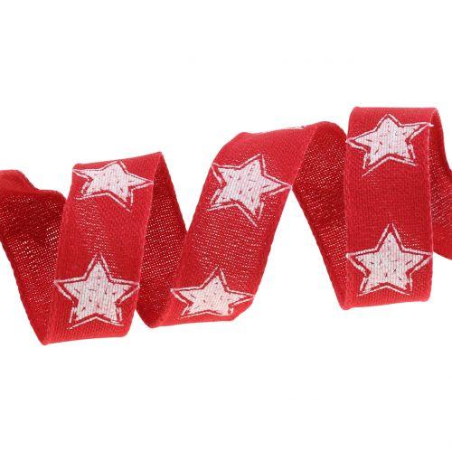 Weihnachtsband Leinoptik mit Stern Rot 25mm 15m