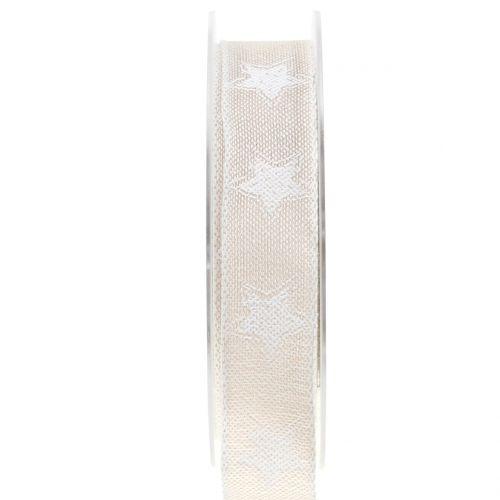 Weihnachtsband Leinoptik mit Stern Natur 25mm 15m