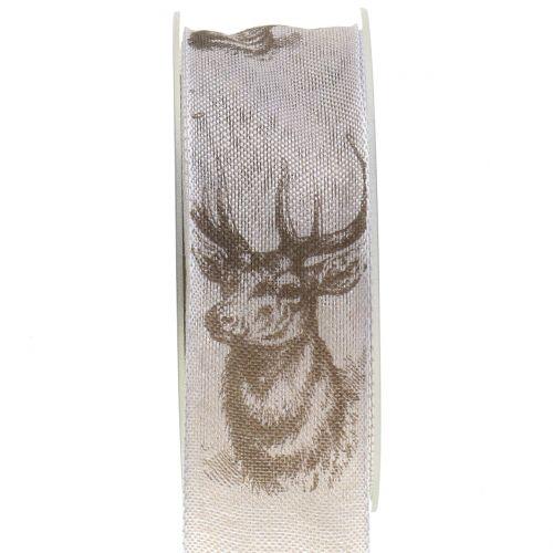 Weihnachtsband Natur mit Hirschmotiv 40mm 20m
