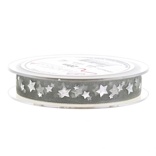 Weihnachtsband Organza Grau mit Sternmotiv 15mm 20m
