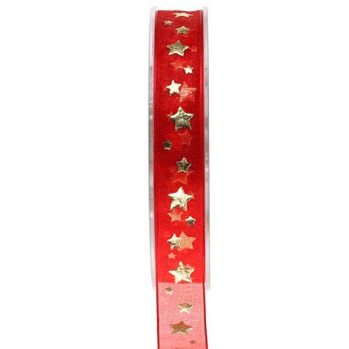 Weihnachtsband Organza Rot mit Sternmotiv 15mm 20m