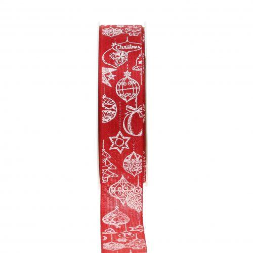 Deko Band Rot mit Weihnachtsmotiv 25mm 18m