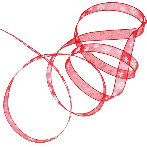 Weihnachtsband Rot mit Schneeflocke 10mm 20m