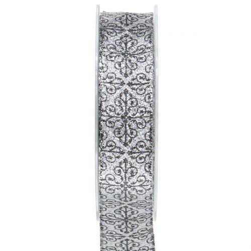 Weihnachtsband mit Ornamenten Silber 25mm 18m
