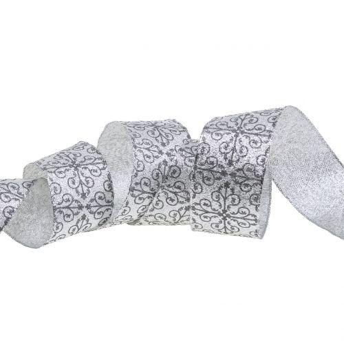 Weihnachtsband mit Ornamenten Silber 40mm 18m