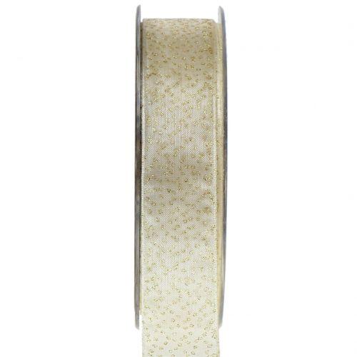 Weihnachtsband mit Glimmer Gold 25mm 20m