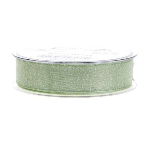 Weihnachtsband mit Glimmer Grün 25mm 20m