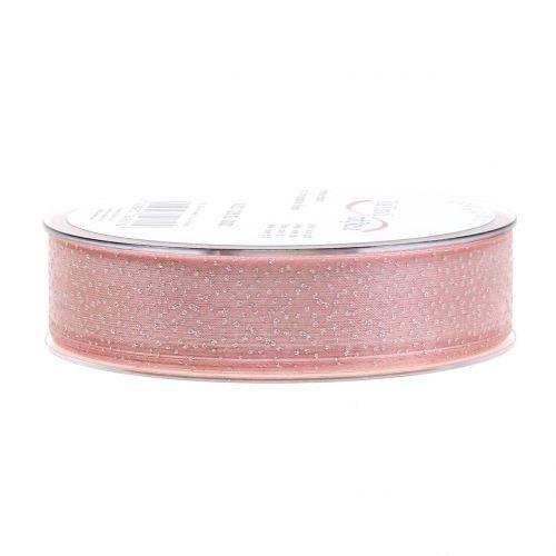 Weihnachtsband mit Glimmer Rosa 25mm 20m