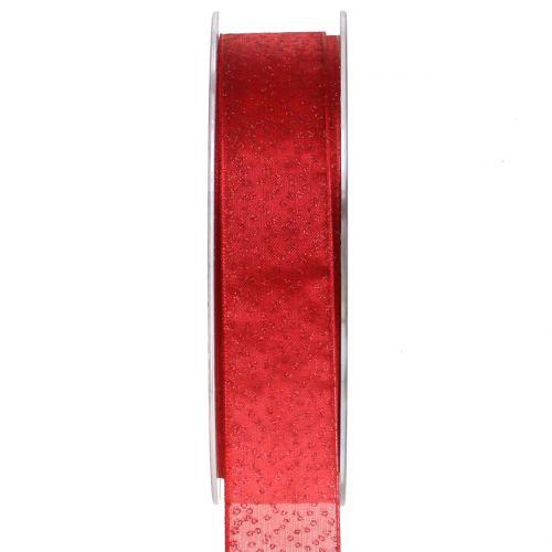 Weihnachtsband mit Glimmer Rot 25mm 20m