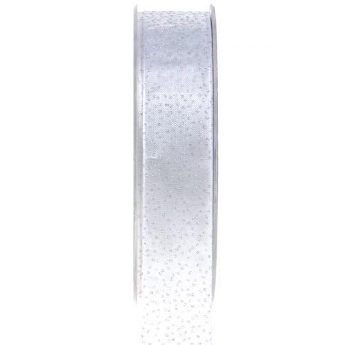 Weihnachtsband mit Glimmer Weiß 25mm 20m