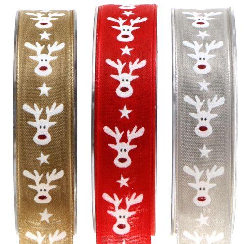 Weihnachtsband mit Rentier 25mm 20m