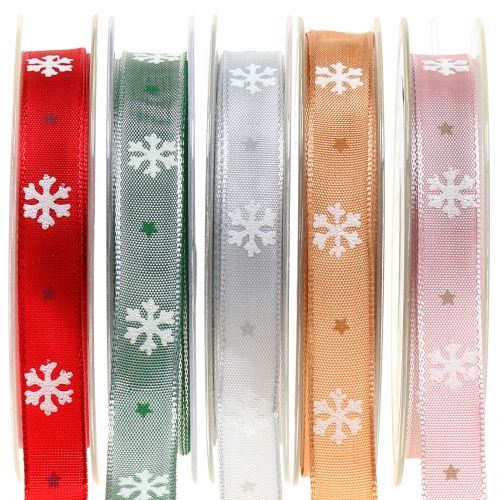Weihnachtsband mit Schneeflocke 15mm 20m