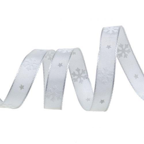 Weihnachtsband mit Schneeflocke Grau 15mm 20m
