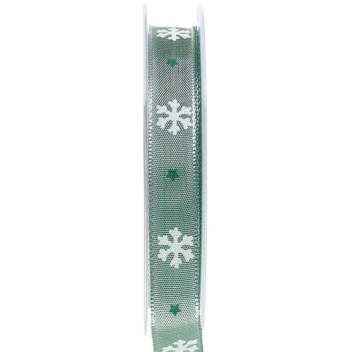 Weihnachtsband mit Schneeflocke Grün 15mm 20m