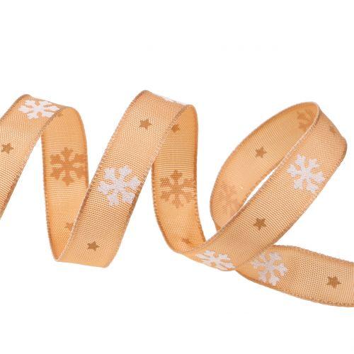Weihnachtsband mit Schneeflocke Orange 15mm 20m
