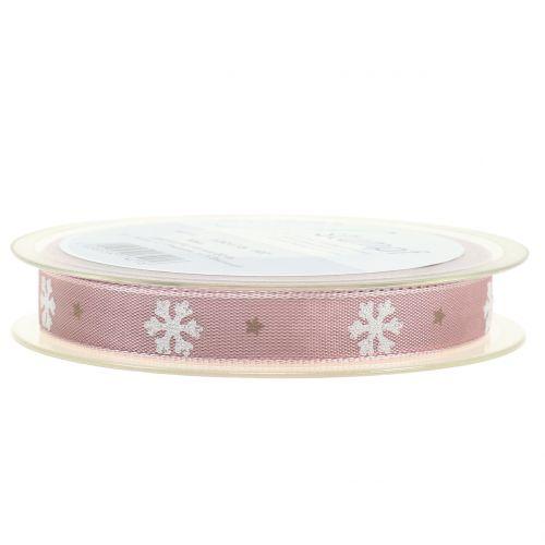 Weihnachtsband mit Schneeflocke Rosa 15mm 20m