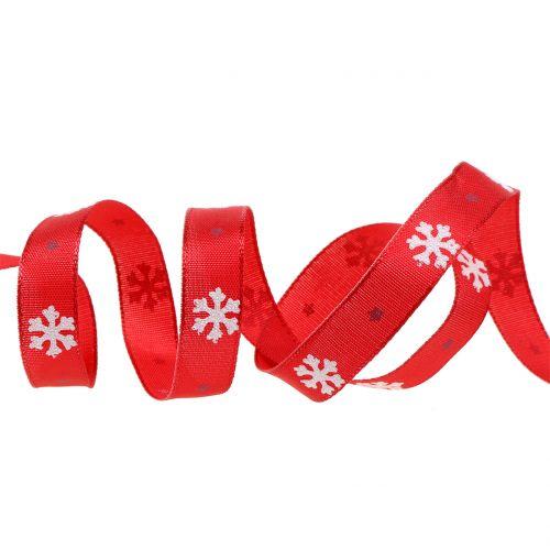 Weihnachtsband mit Schneeflocke Rot 15mm 20m