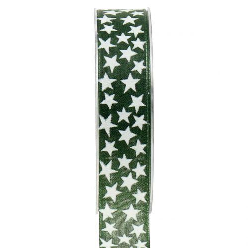 Weihnachtsband mit Stern Grün, Weiß 25mm 20m