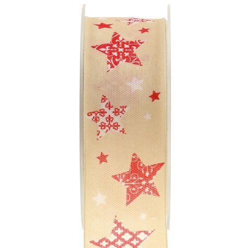 Weihnachtsband mit Sternmotiv Creme 40mm 20m