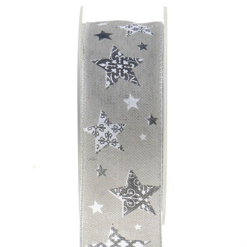 Weihnachtsband mit Sternmotiv Grau 40mm 20m