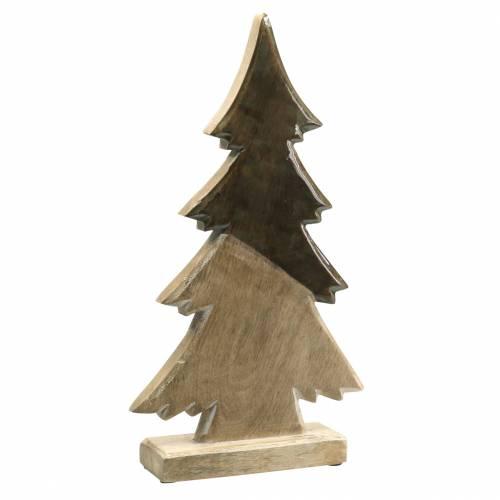 Holztanne Glasiert Natur, Weiß Mangoholz H40,5cm