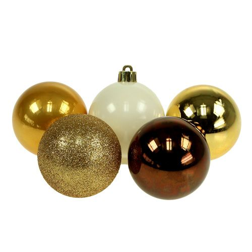 Weihnachtsdeko Gold Braun.Weihnachtsdeko Plastikkugel Gold Braun Mix ø6cm 30st