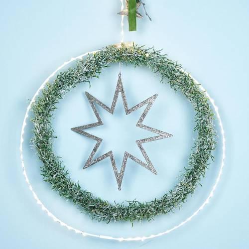 Weihnachtsdeko Stern Christbaumschmuck Champagner Glitter 22cm 12St