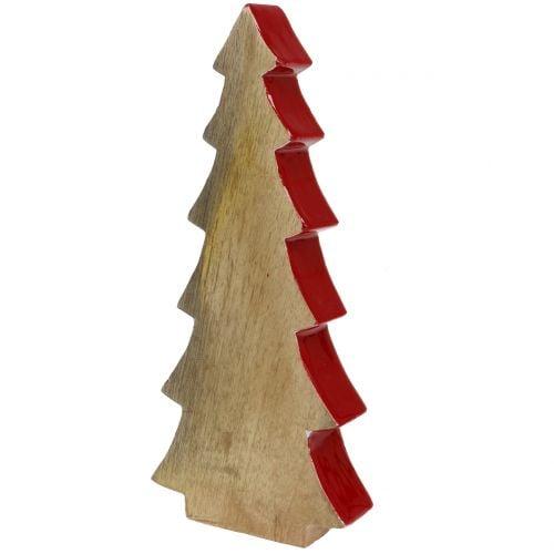 Weihnachtsdeko Tannenbaum Holz Rot, Natur 28cm