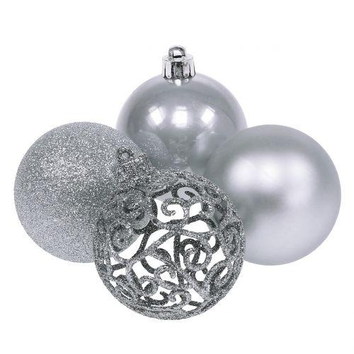 Weihnachtskugeln Weiß Silber.Weihnachtskugel Silber ø6cm 16st